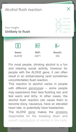 One of my Diet DNA results: Alcohol Flush Reaction.