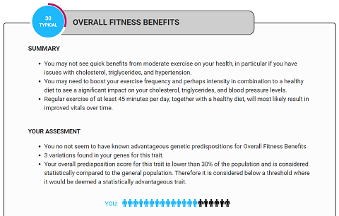 A snippet from my Overall Fitness Benefits result.