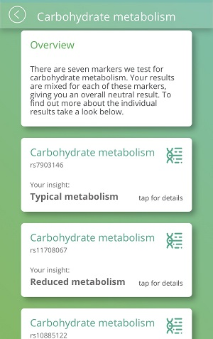 My genetic results for carbohydrate metabolism.