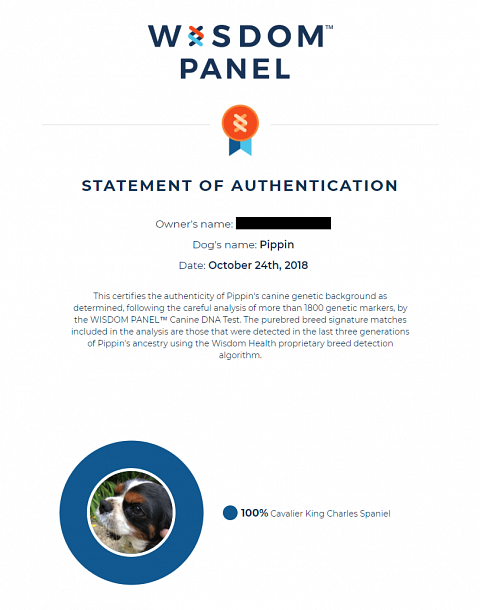 My dog's breed authentication certificate.
