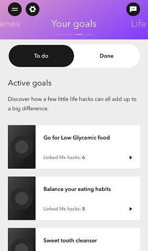 A section of my active goals.