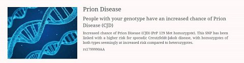 The genotype associated with a higher risk of Prion Disease/CJD.