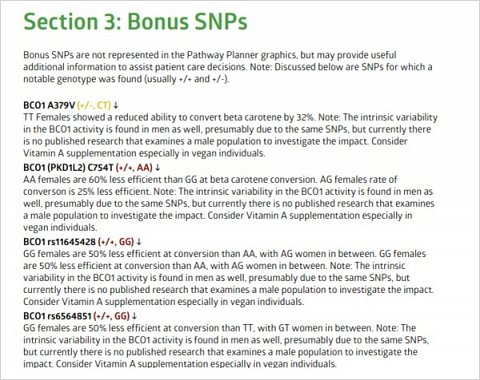 A section of my 'Bonus SNPs' results.