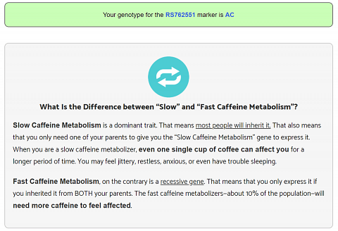 Details about my caffeine sensitivity result.