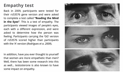 The empathy test conducted on people with different variants in the OXTR gene.