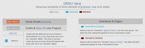 My variation of the OR5A1 gene, affecting sensitivity to floral scents.