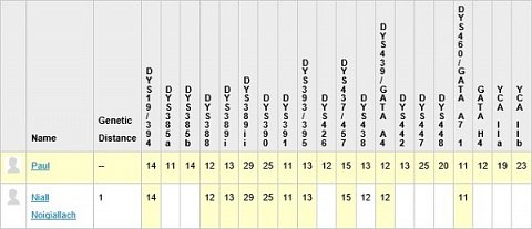 A table showing that I matched 10 of 11 Y-DNA STR markers with the Irish King, Niall Noigiallach.