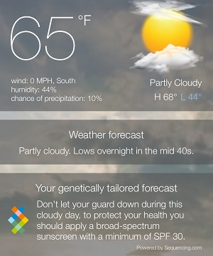 Day 1 – My local weather and genetically tailored forecast.