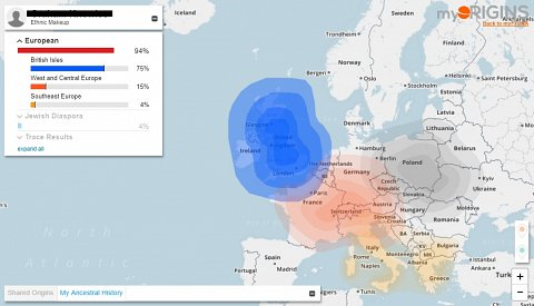 My myOrigins map, showing where in Europe my DNA is from.