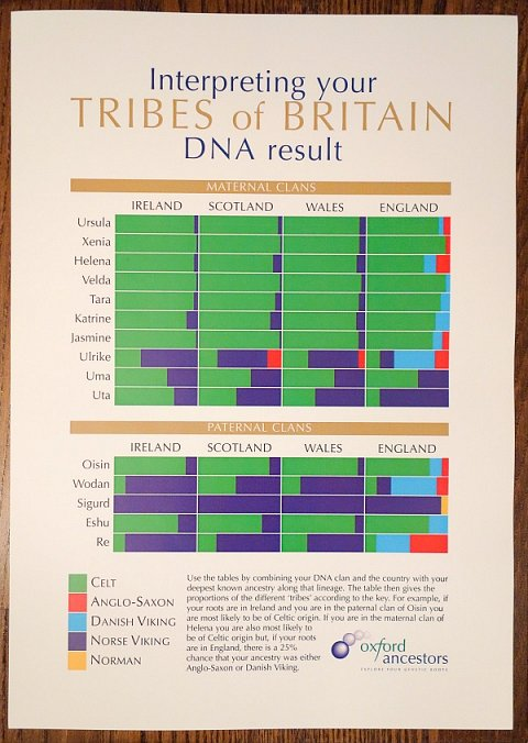 A diagram for interpreting my Tribes of Britain DNA result.