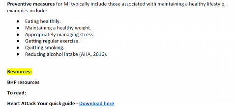 Resources offered in the Clinical significance section of my result for Myocardial infarction.