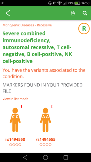 My Severe Combined Immunodeficiency result.