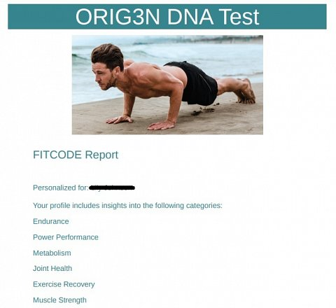 The front page of the PDF version of my FITCODE report.