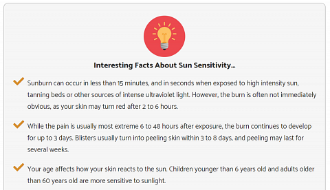 Facts about sun sensitivity included in my result report.