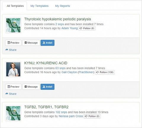 Three of the custom reports that had been shared by other users.