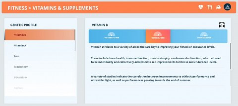 "My ""Vitamins & Supplements"" results, beginning with Vitamin D."