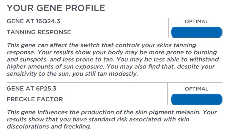 My Gene Profile for my Pigmentation result.