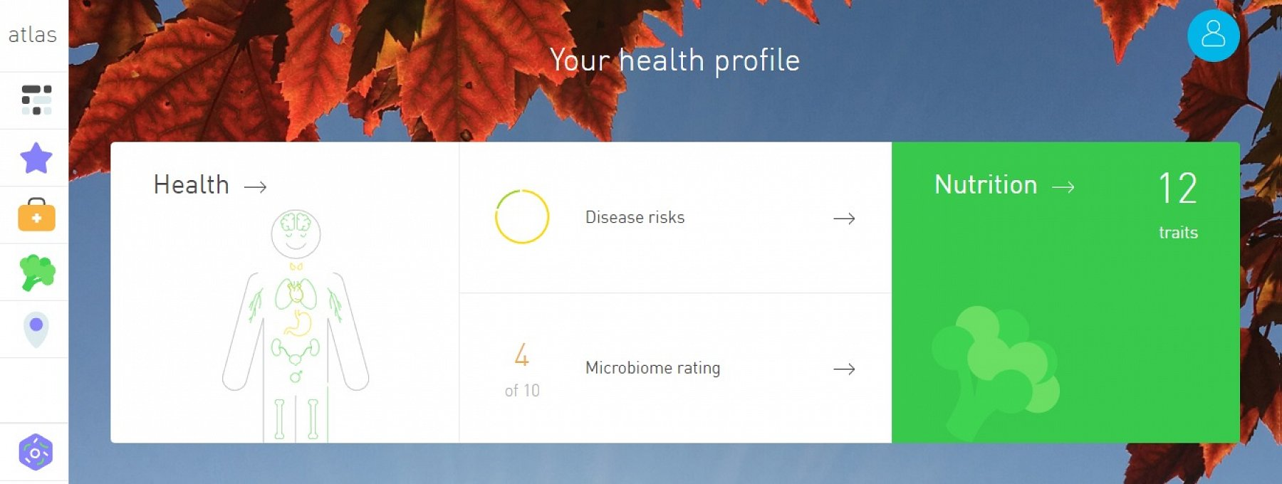 My Health Profile homepage.